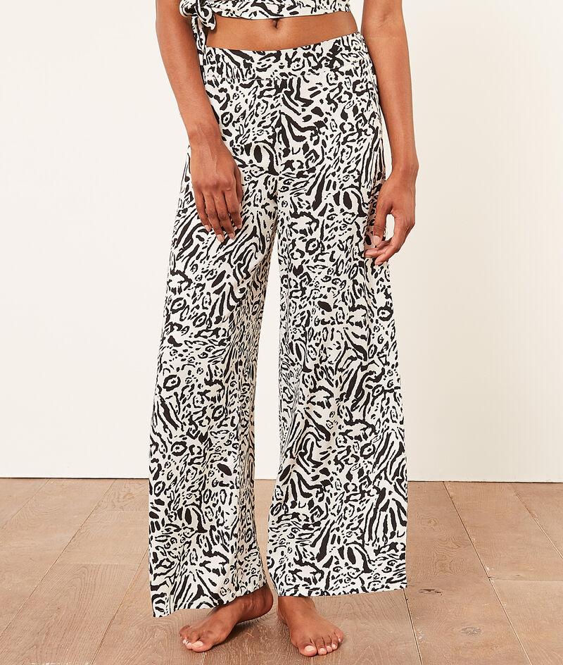 Szerokie worzyste spodnie z wysoką talią;${refinementColor}