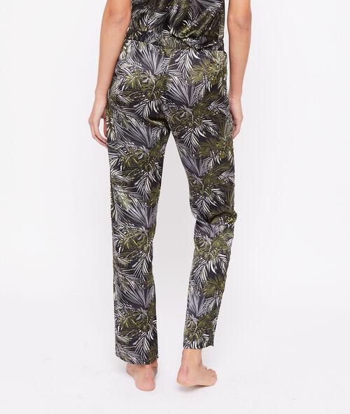 Satynowe spodnie z motywem liści