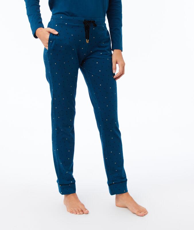 Wzorzyste spodnie bleu canard.