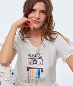 T-shirt z nadrukiem ecru.