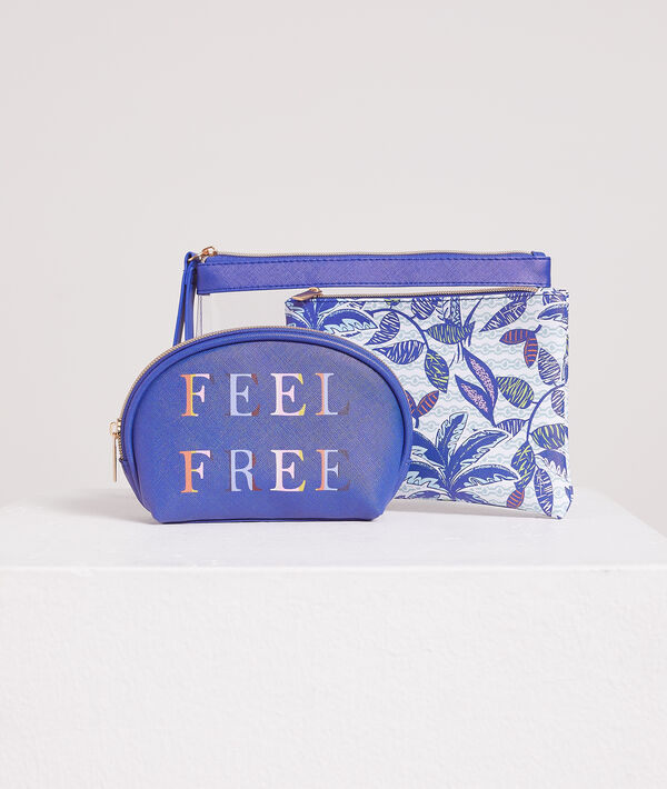 Prześwitująca kosmetyczka z napisem 'feel free';${refinementColor}