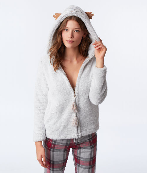 Rozpinana bluza homewear, sówka