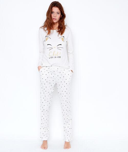 Trzyczęściowa piżama, koszulka, spodnie w deseń i polarowa bluza