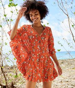 Plażowa tunika w kwiaty rouge.