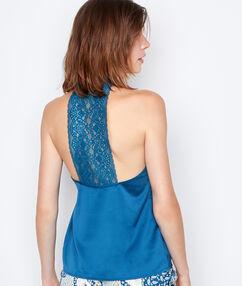 Satynowy top z koronką na plecach bleu.