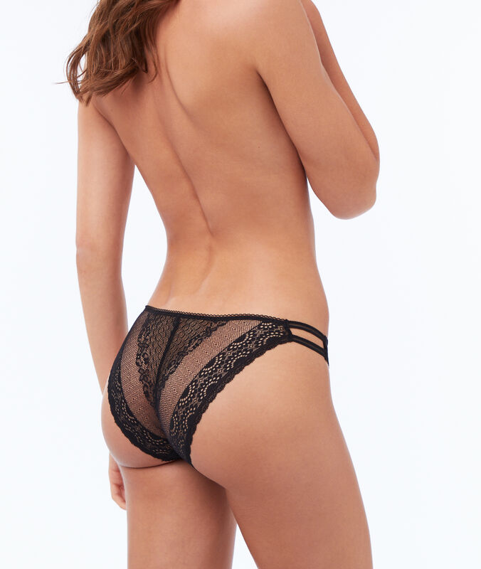 Koronkowe majtki z elastycznymi paskami noir.