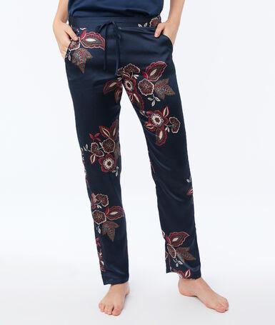 Satynowe spodnie od piżamy bleu.