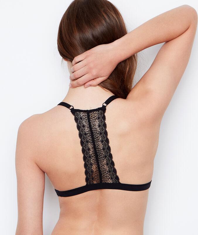 Trójkątny biustonosz koronkowy bez fiszbin z oryginalnym wykończeniem na plecach noir.