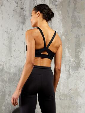 Biustonosz sportowy, wycięcie na plecach w kształcie litery v - średnio podtrzymujący gris.