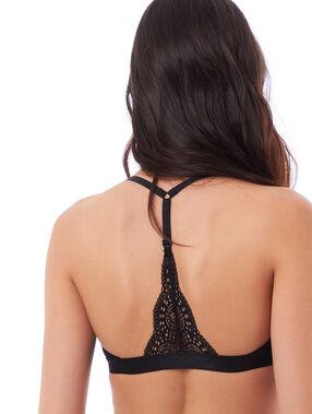 Biustonosz nr4 - klasyczny biustonosz usztywniany z koronki, wycięcie na plecach w stylu bokserskim  noir.