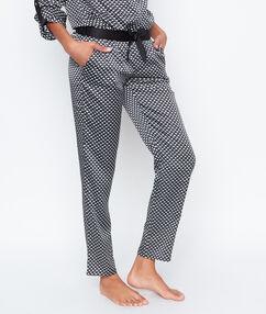 Satynowe spodnie w deseń noir.