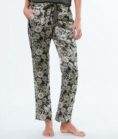 Spodnie w kwiecisty deseń khaki.