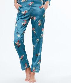 Satynowe spodnie w kwiecisty deseń bleu.