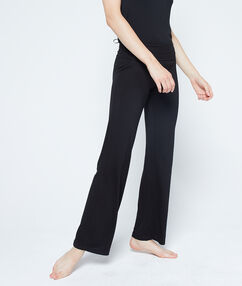 Lejące spodnie z wiskozy czarny.