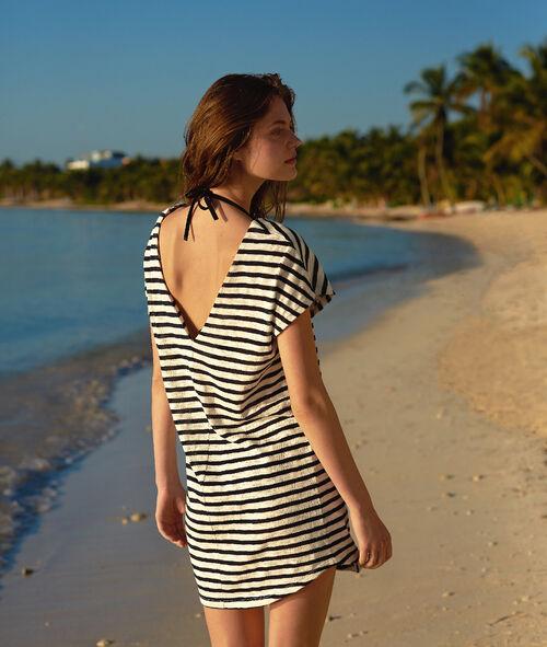 Tunika plażowa w paski, metalowe oczka
