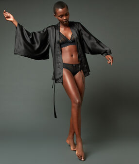 Szlafrok kimono 100% jedwabiu noir.