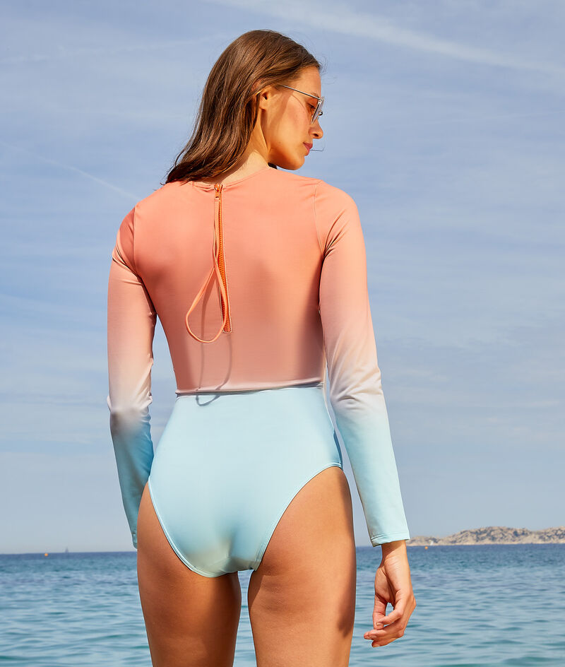 Strój surfingowy jednoczęściowy z długimi rękawami z suwakiem na plecach;${refinementColor}