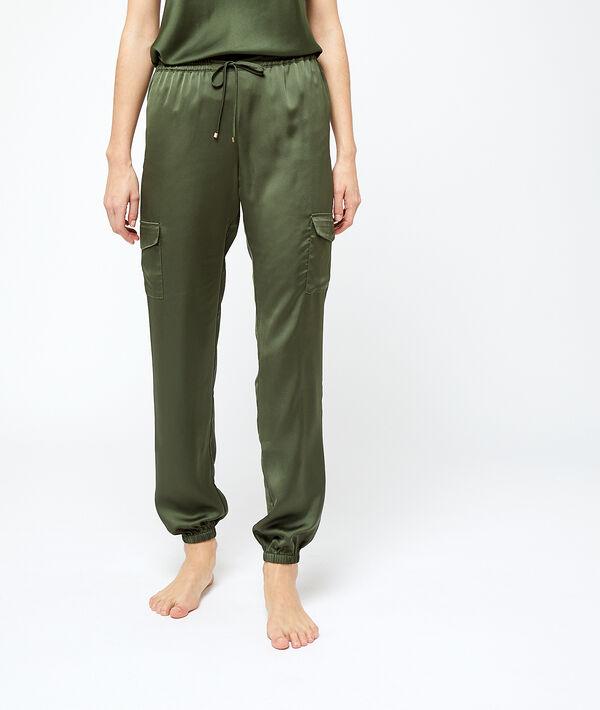 Satynowe spodnie bojówki;${refinementColor}