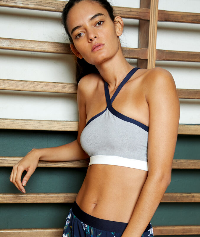 Biustonosz sportowy - średnie podtrzymanie, wyjmowane poduszeczki  gris.