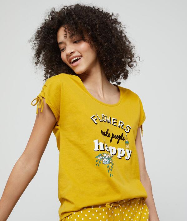 T-shirt z bawełny organicznej z nadrukiem 'flowers make people happy'