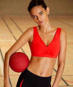 Biustonosz sportowy - skrzyżowane ramiączka na plecach, średnie podtrzymanie, wyjmowane poduszeczki rouge.