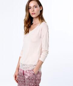 T-shirt z koronkowym dołem rose.