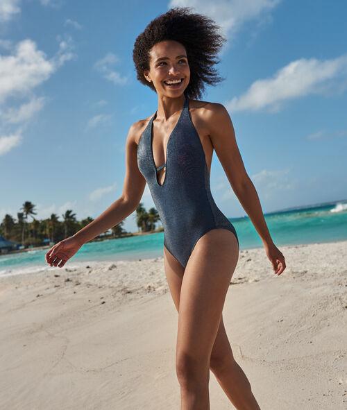Jednoczęściowy kostium kąpielowy z odkrytymi plecami