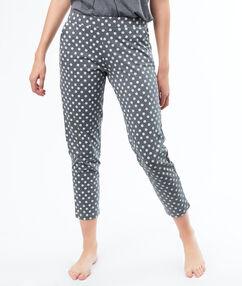 Spodnie w kwiatuszki grau.