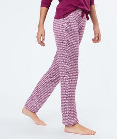 Spodnie w deseń bordeaux.