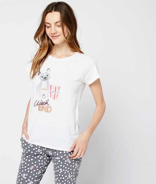 "T-shirt z nadrukiem pieska i napisem ""week-end"""