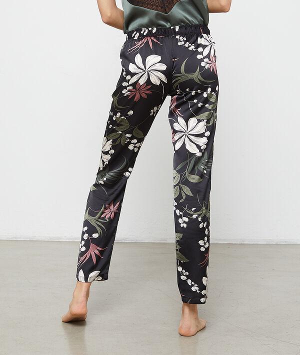 Satynowe spodnie z kwiatowym nadrukiem