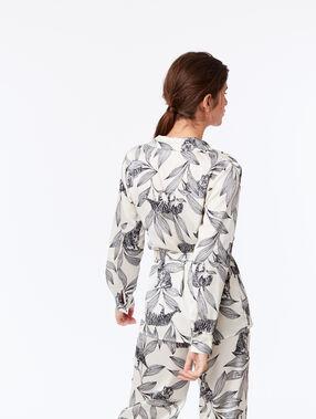 Wiązana piżana we florystyczny deseń ecru.