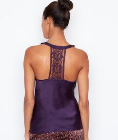 Top z fantazyjną koronką na plecach violet.