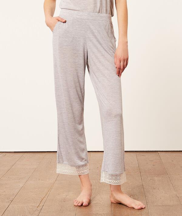 Pantalon 7/8è bords dentelle;${refinementColor}