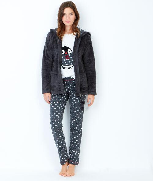 Piżama trzyczęściowa, spodnie z nadrukiem i bluza polarowa w dotyku