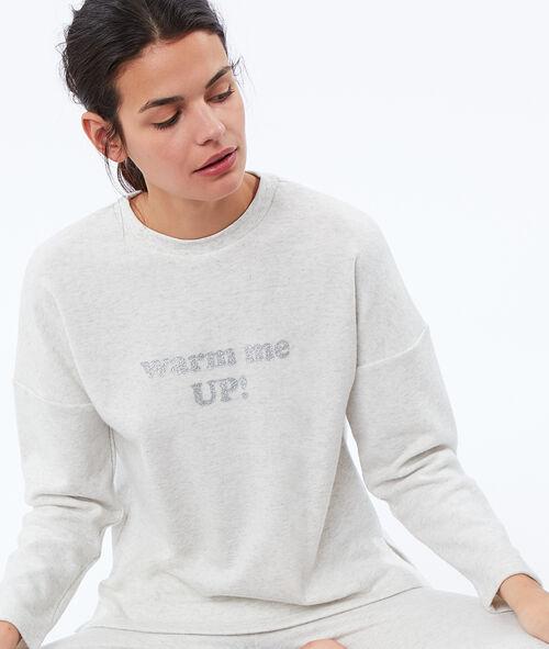 Miękka i ciepła bluza w deseń typu melanż z napisem