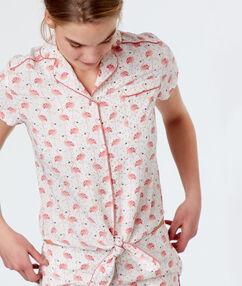 Męska koszula od piżamy z motywem różowych flamingów rose.