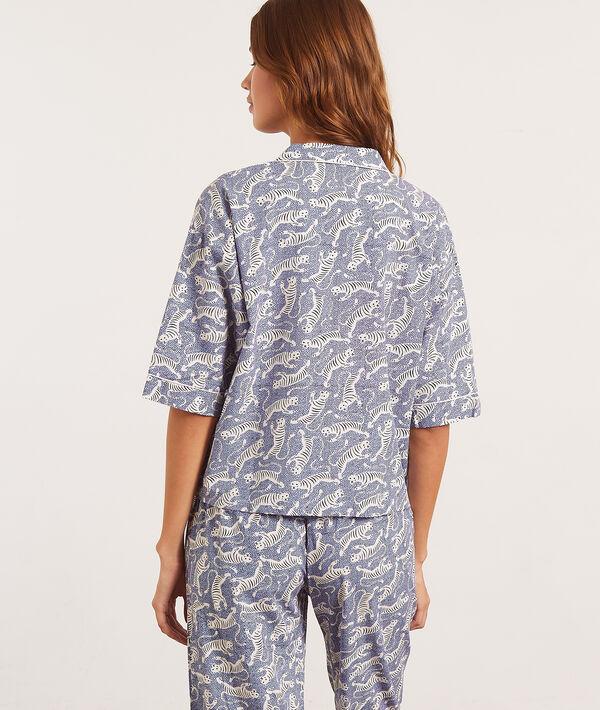 Koszula z krótkimi rękawami, motyw tygrysów;${refinementColor}