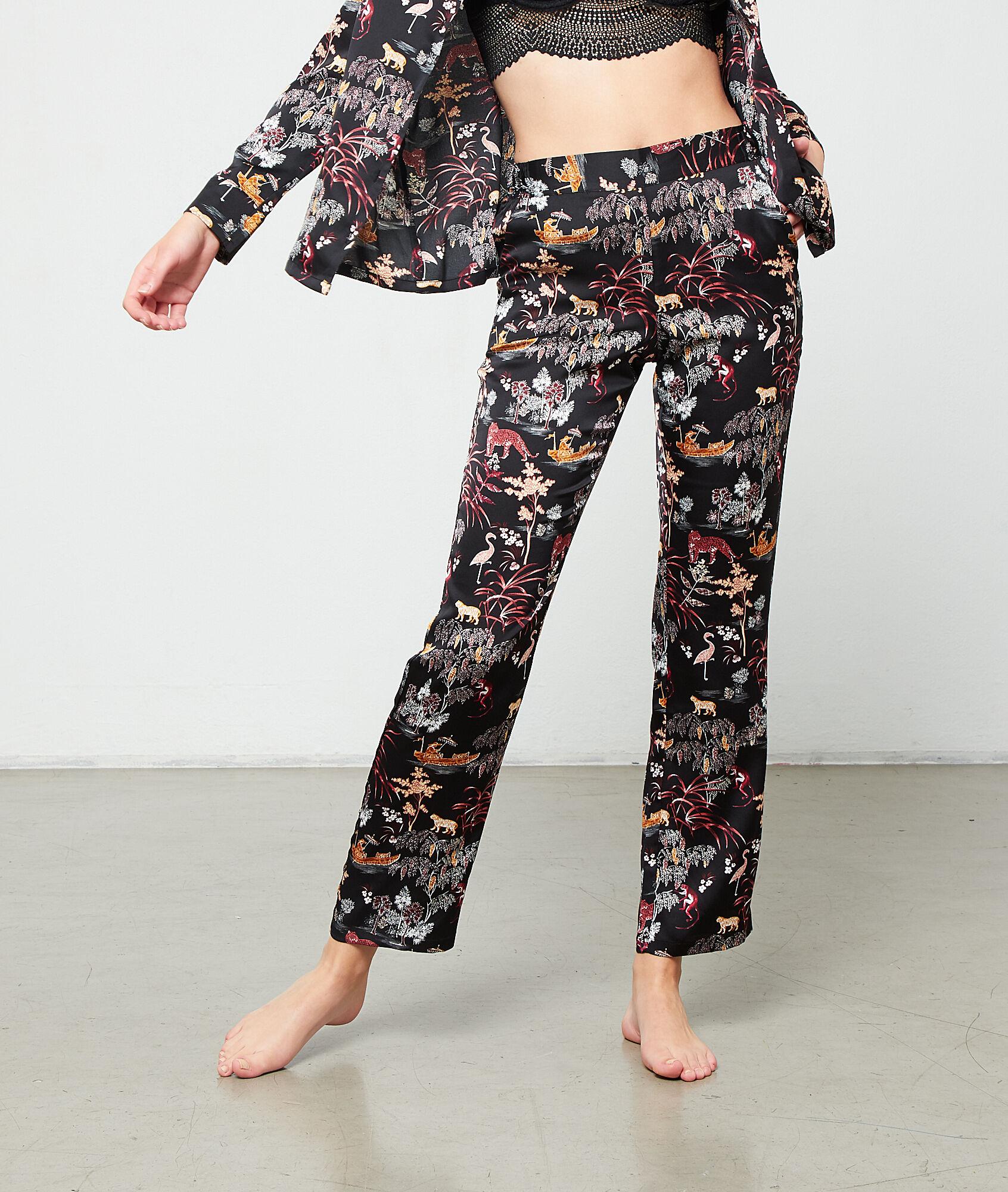 LEON Satynowe spodnie z nadrukiem