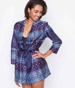 Satynowy szlafrok kimono w deseń bleu.