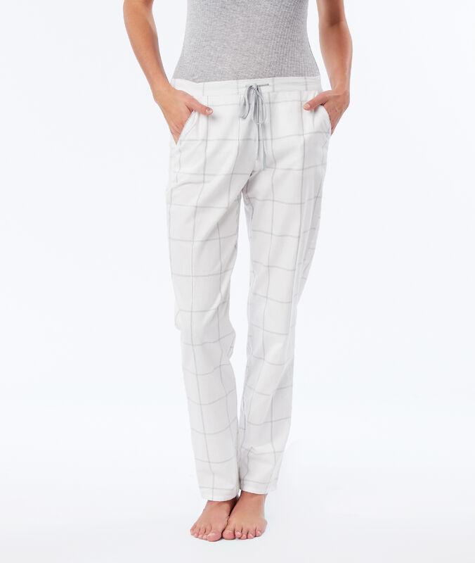 Spodnie od piżamy w kratę ecru.