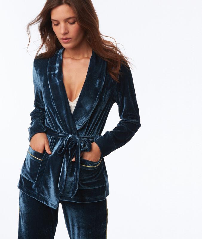 Aksamitna bluza od piżamy bleu.