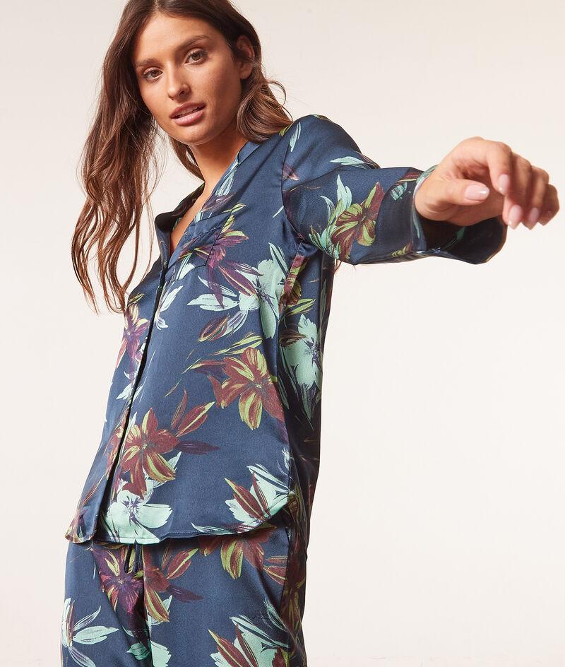 Satynowa koszula od piżamy z nadrukiem;${refinementColor}