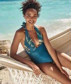 Jednoczęściowy kostium kąpielowy z efektem złotej nitki imprime bleu vert.