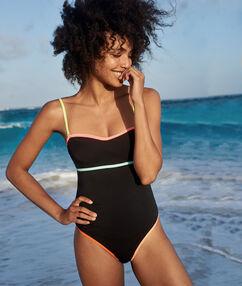 Gorsetowy jednoczęściowy kostium kąpielowy z odblaskowymi detalami  noir.
