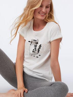 T-shirt z napisem ecru.