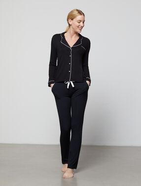 Lejące spodnie od piżamy z kokardką czarny.
