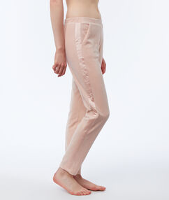 Aksamitne spodnie homewear ozdobione paskami z satyny rose.