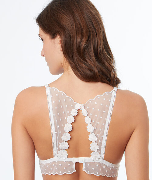 Koronkowy biustonosz trójkątny z wycięciem na plecach w stylu bokserskim i baskinką z satynowym haftem