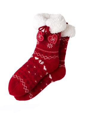 Skarpetki kapcie z nadrukiem świątecznym czerwony.